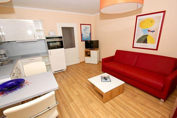 Wohnküche in der Ferienwohnung 14 in der Strandresidenz Brandenburg