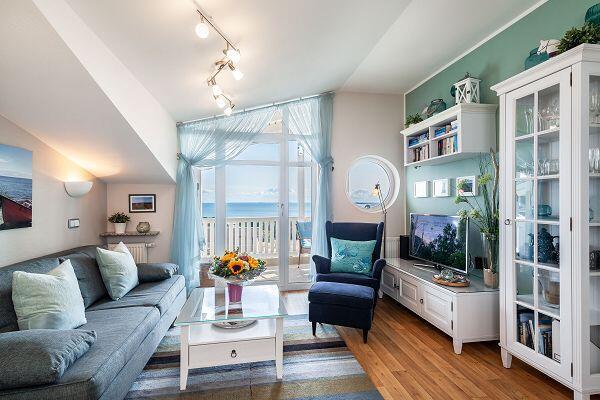 gemütliches Wohnzimmer in der Ferienwohnung 28 in den Meeresblick Residenzen