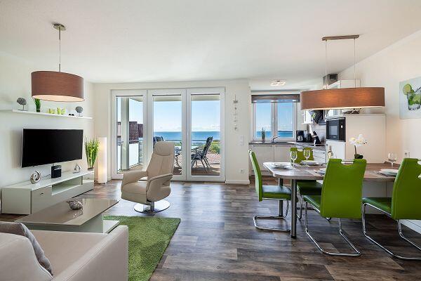 Wohnbereich in der Ferienwohnung Nr. 70 in den Meeresblick Residenzen