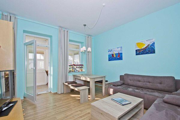 Wohnraum der Wohnung 6 in der Villa Möwe