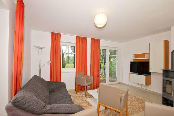 Wohnbereich mit Kamin in der Wohnung 03 im Haus 29 im Strandresort Rex Rugia